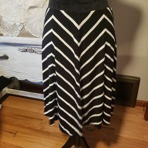 Max Studio black and white striped knit skirt